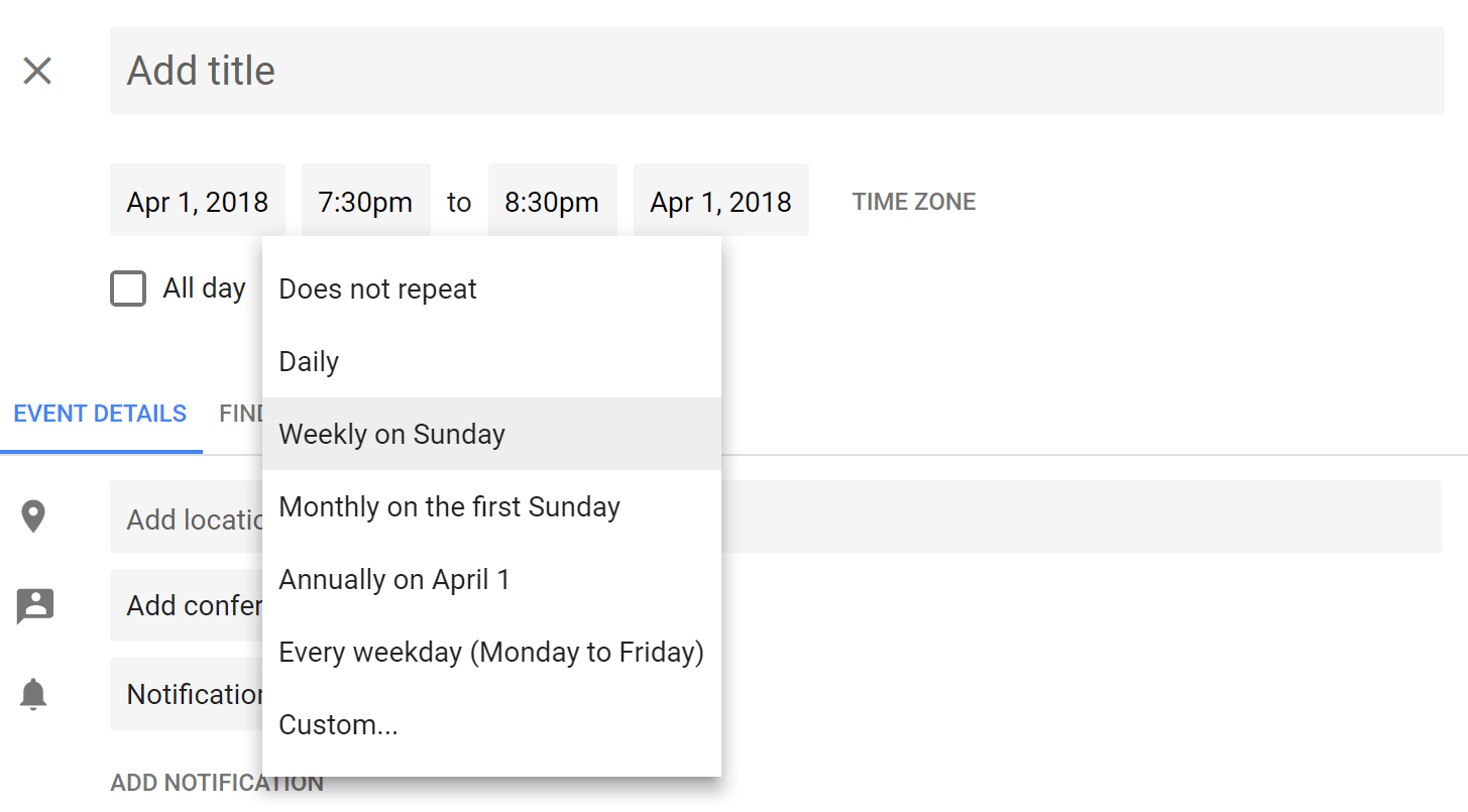 Default options for repeating events in Google Calendar
