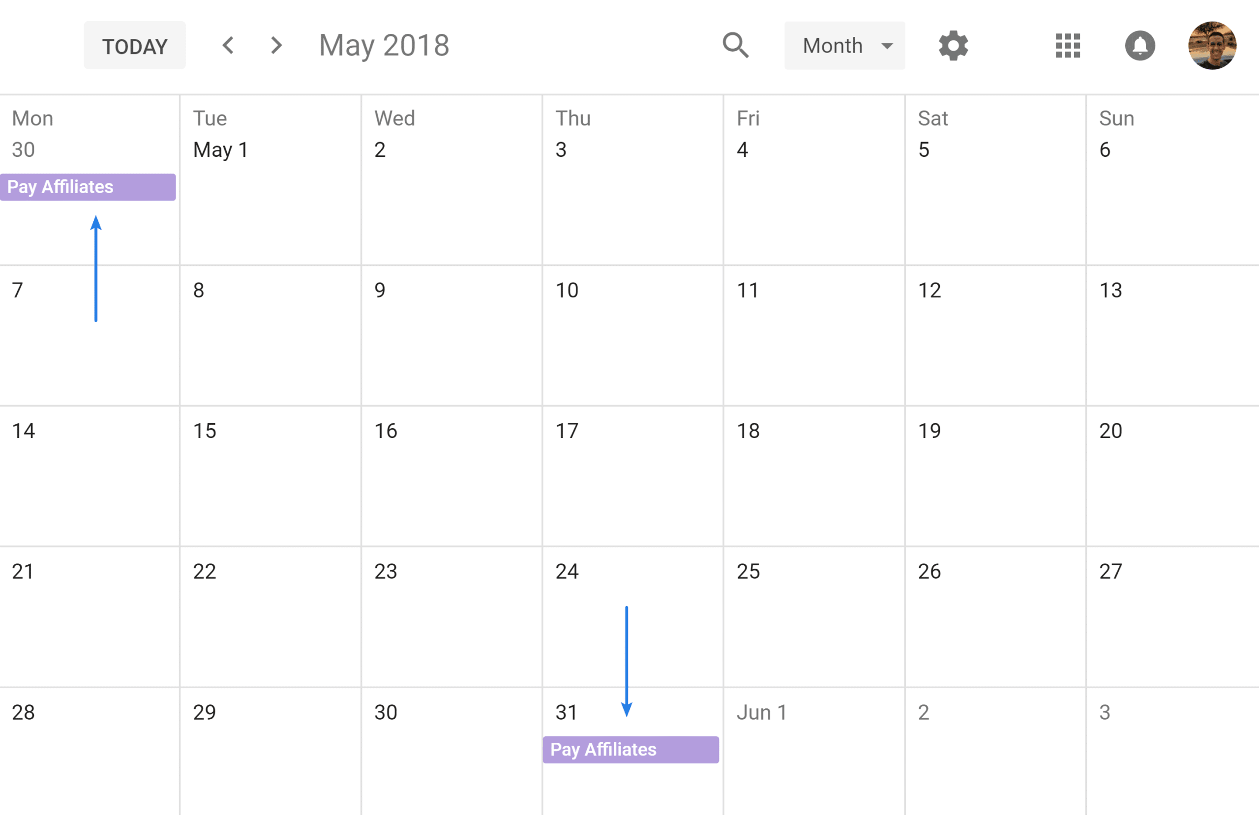 Google Calendar repeating event on last day of month