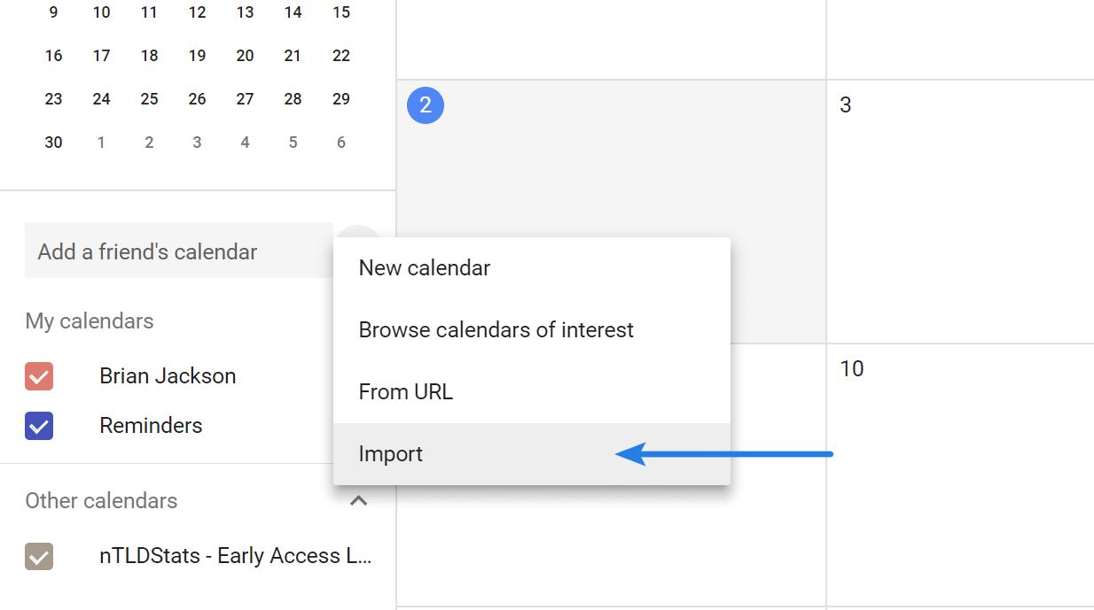 Import Google Calendar