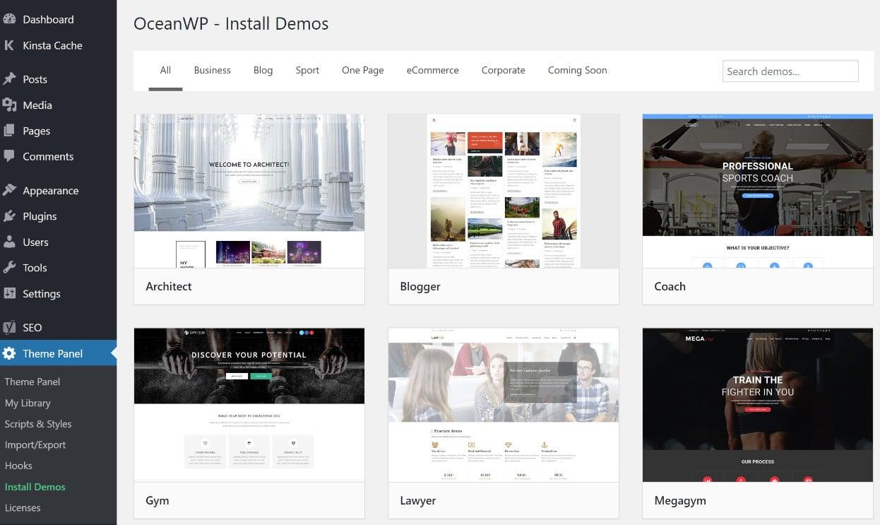OceanWP demo content