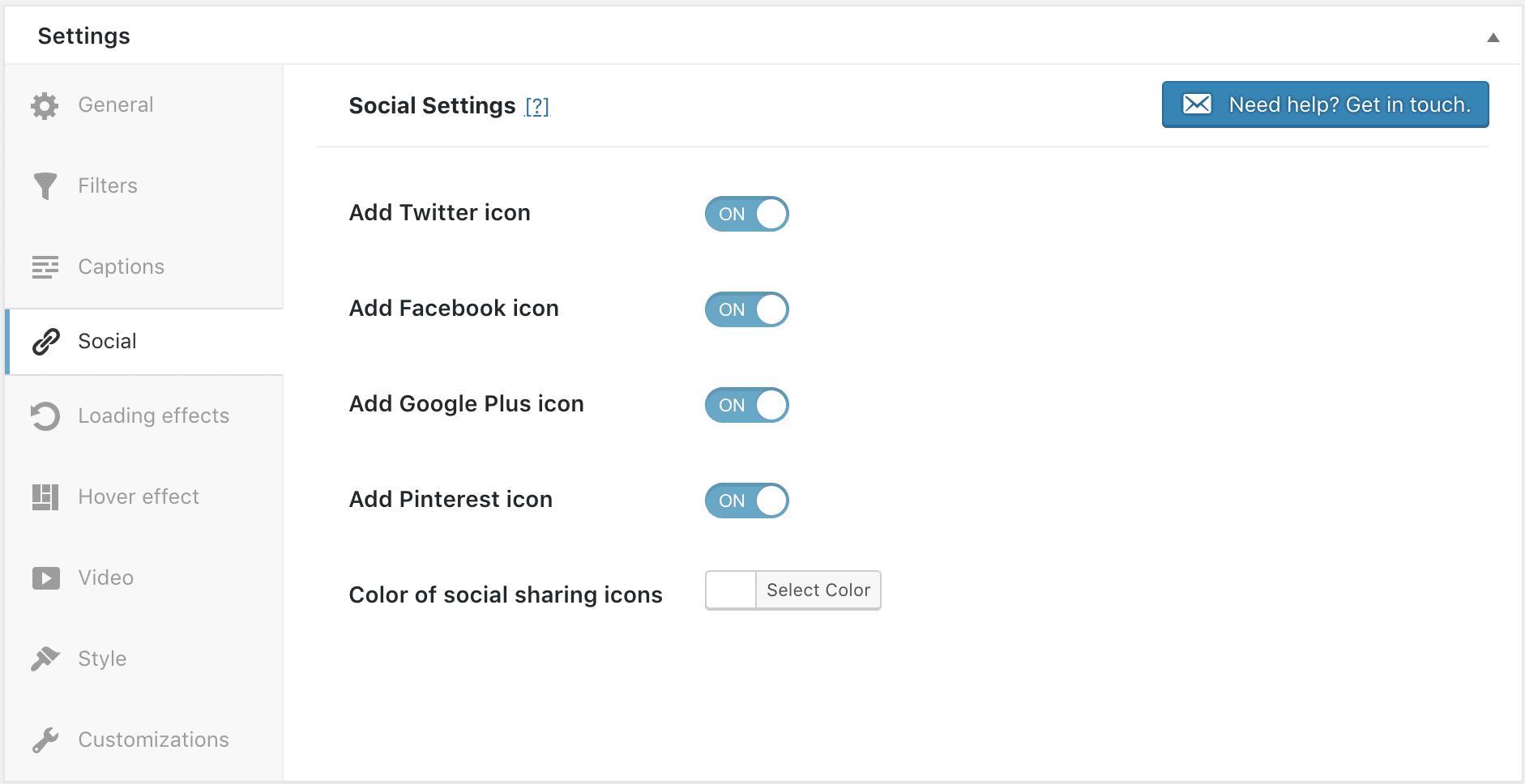 Add social icons