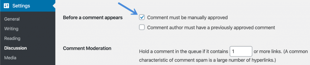 Manually approve comments in WordPress