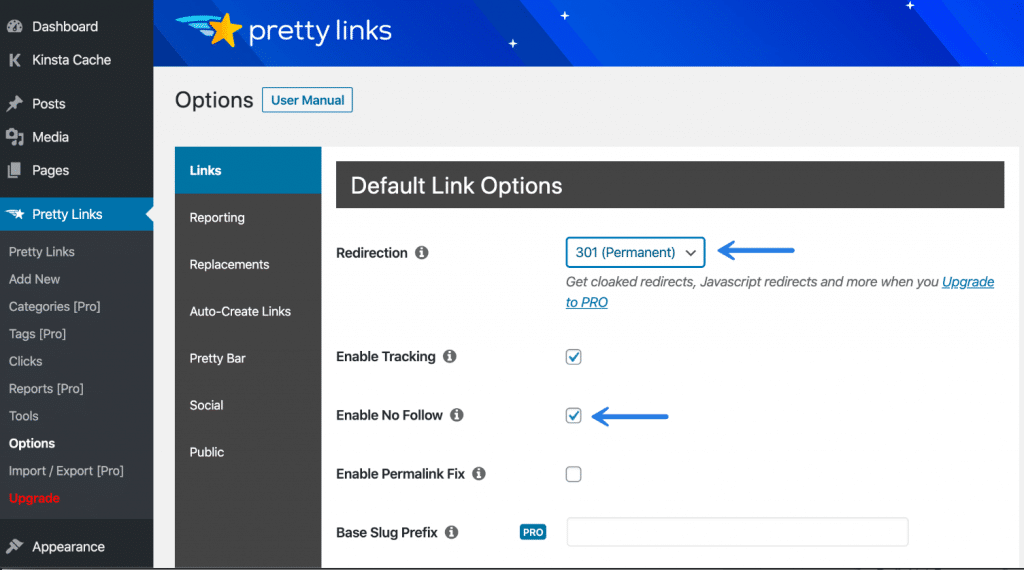 Pretty Links default to 301 and nofollow