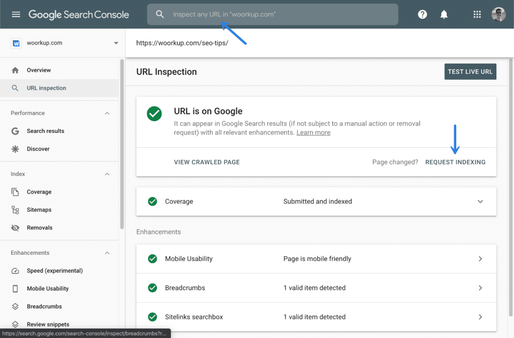 Request indexing in Google Search Console