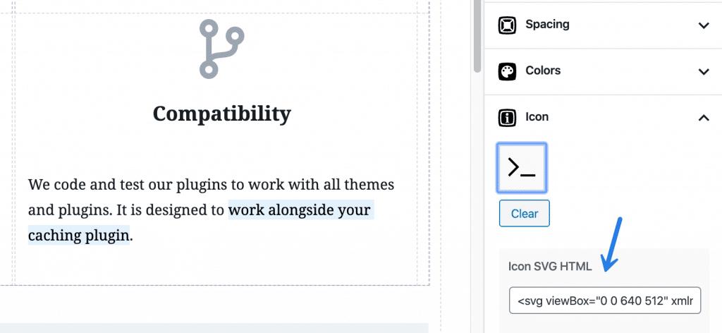 Adding SVG icon