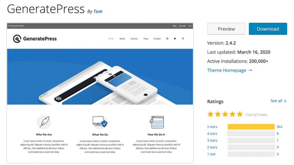 GeneratePress in WordPress repository