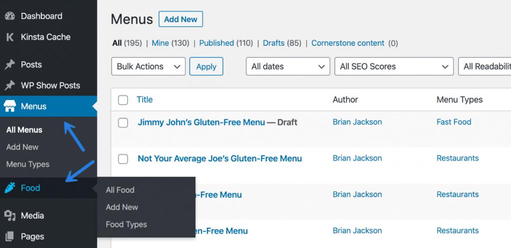 Custom post type with food and menus