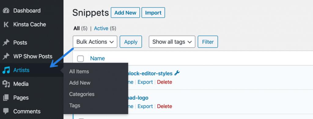 Custom post type in WordPress dashboard