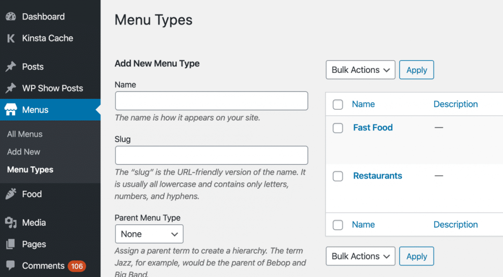 A type within a custom post type