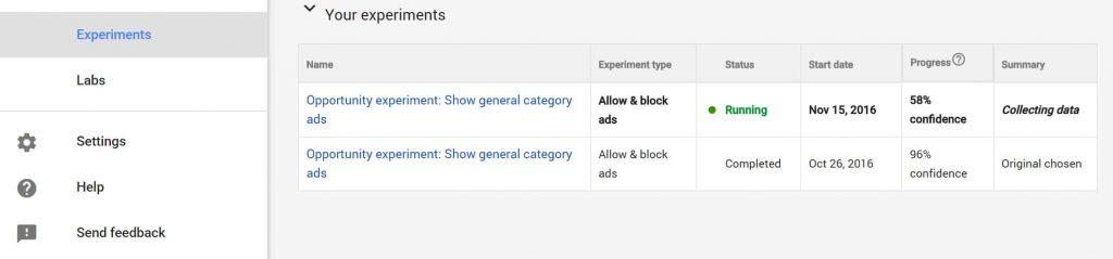 Google AdSense expirements