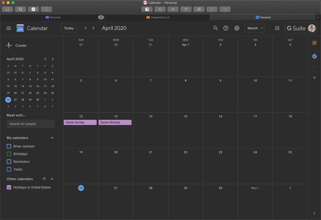 Gmail calendar in Mailplane Mac app