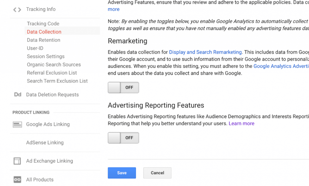 Google Analytics data collection