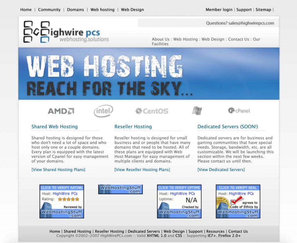 Original HighWirePCs website