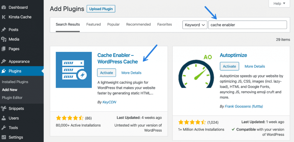 Install the WordPress Cache Enabler plugin