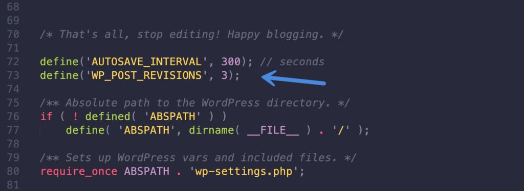 Limit WordPress revisions