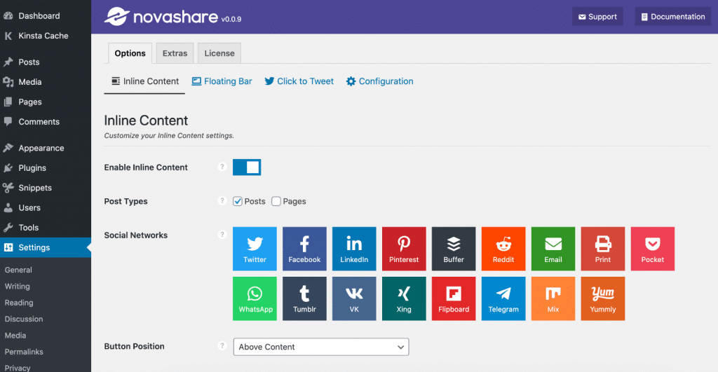 Novashare WordPress plugin