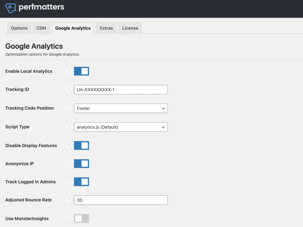 Hosting Google Analytics locally with Perfmatters