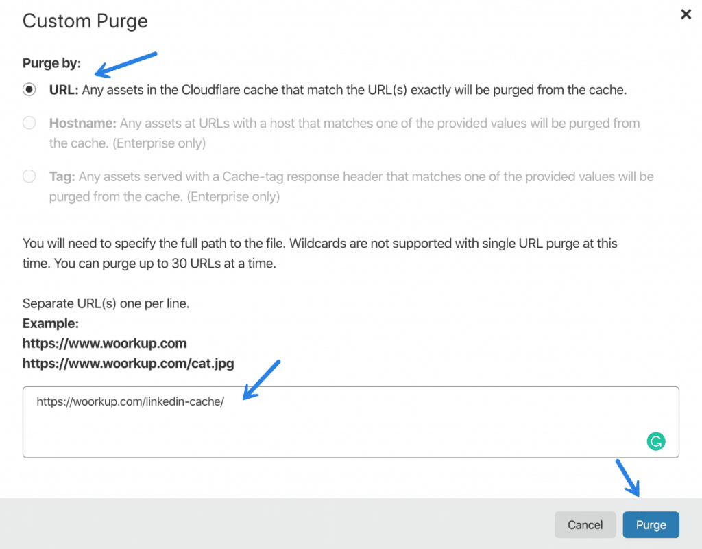 Purge URL cache at Cloudflare