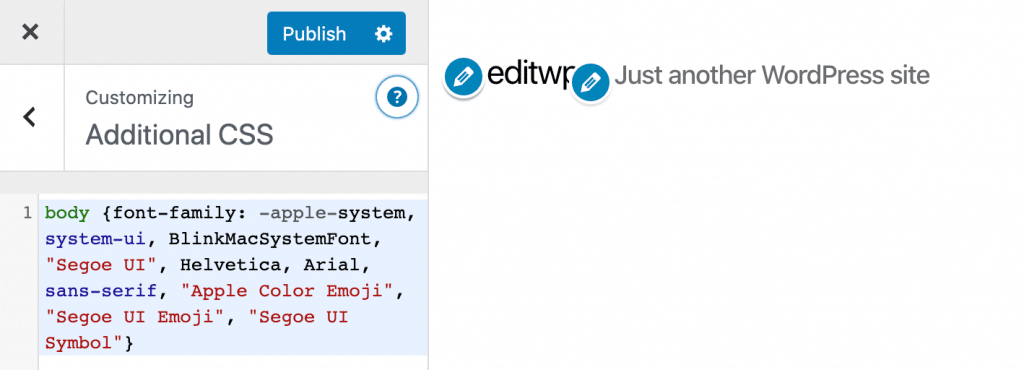 Add system font CSS in WordPress customizer