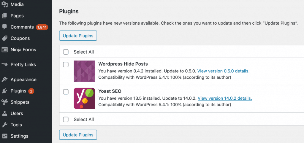 WordPress updates available