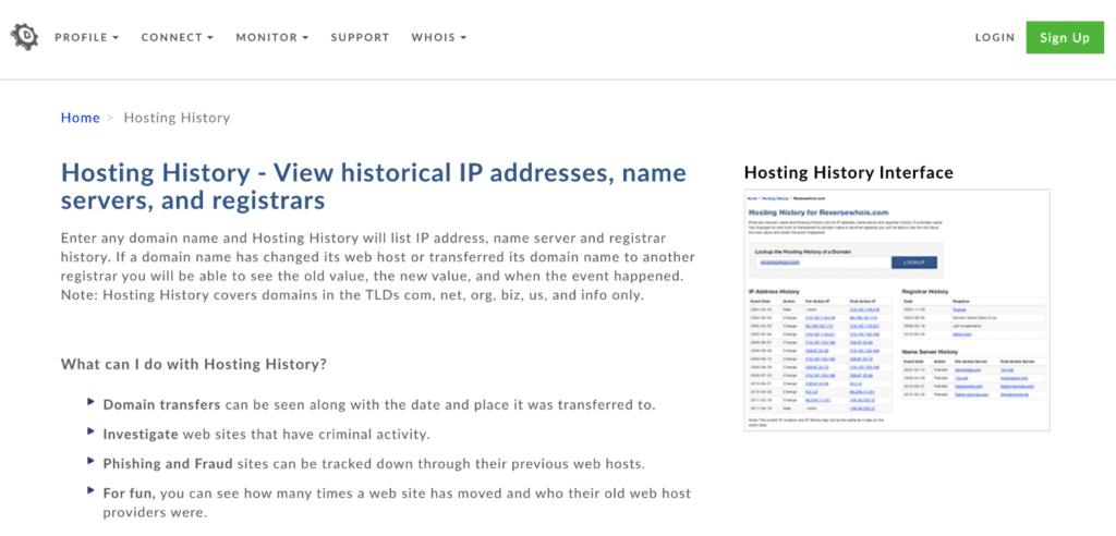 DomainTools hosting history report