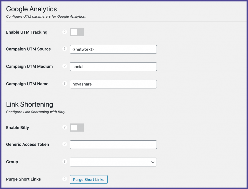 Novashare analytics and link shortening