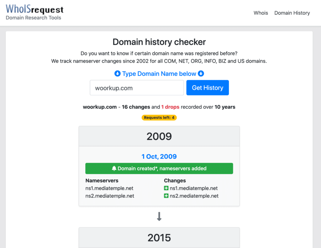 WhoISrequest DNS history