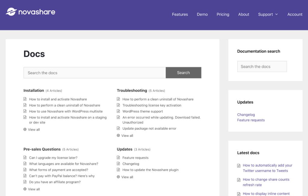 WordPress documentation plugin