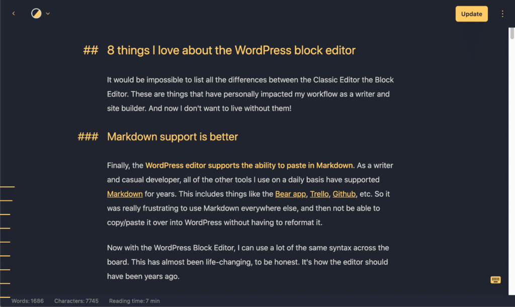 Markdown support better in WordPress Block Editor