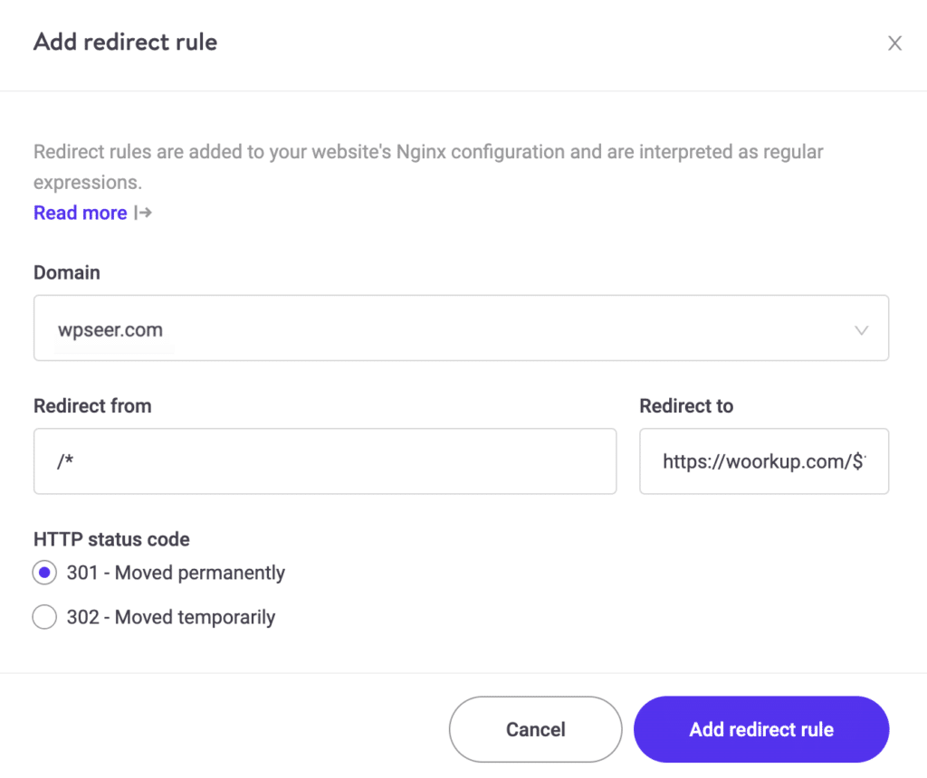 Add 301 redirect at Kinsta
