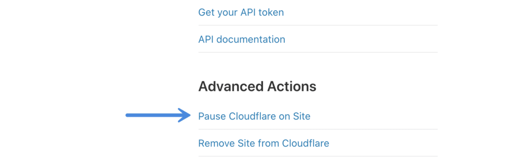 Pause Cloudflare on Site