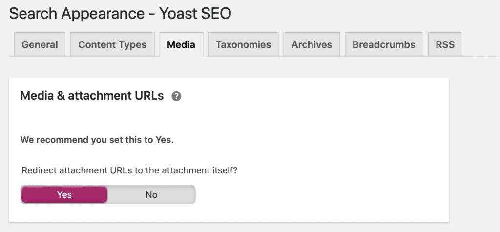 Yoast SEO media & attachment URLs