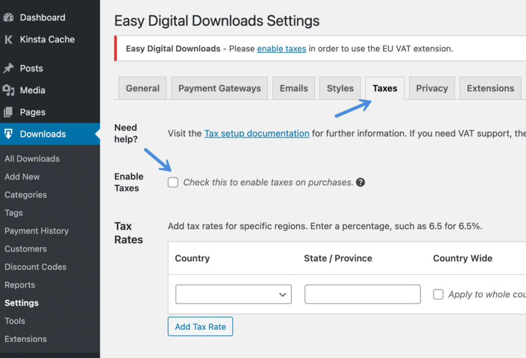 Enable taxes in Easy Digital Downloads