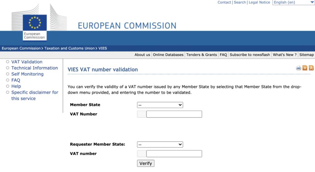 Validate VAT number on European Commission website