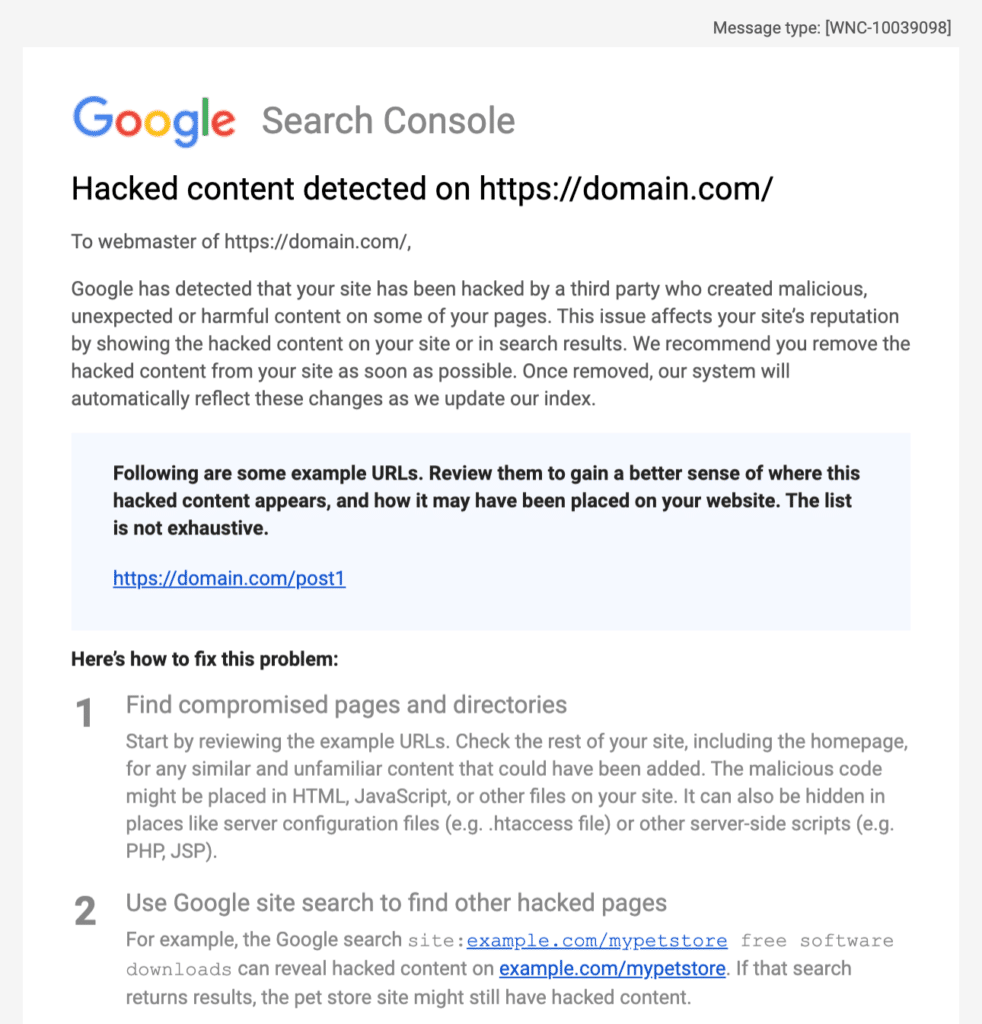 Google Search Console hacked content