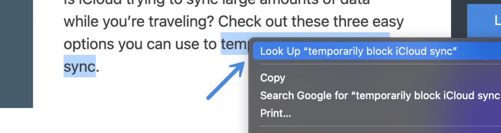 Mac look up context menu
