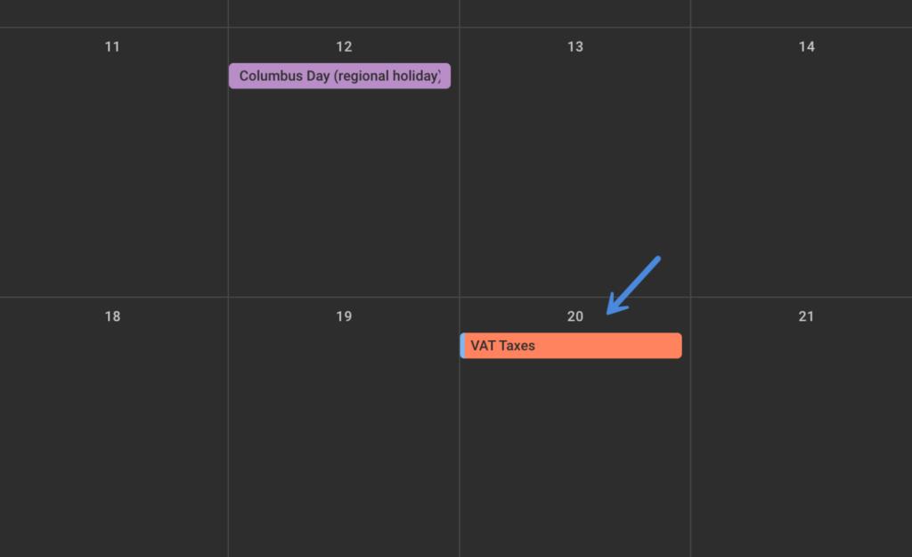 Calendar reminder to pay VAT