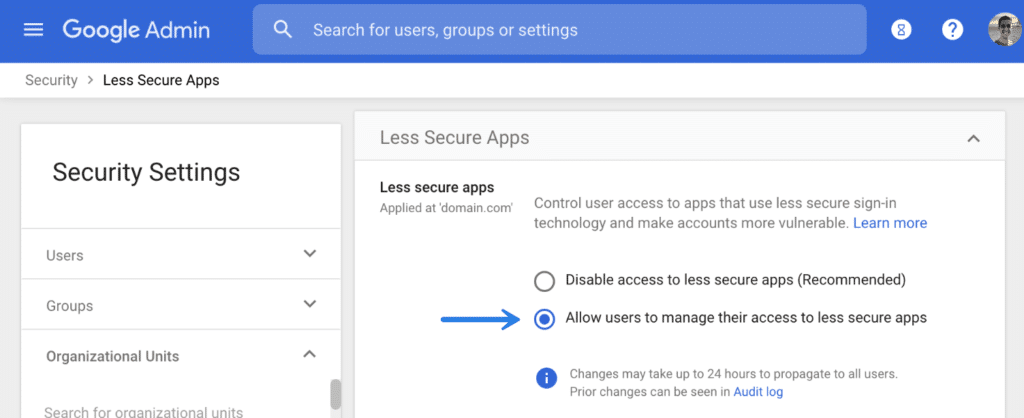 Allow less secure apps in G Suite