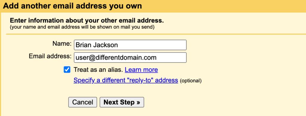 Email address treat as alias