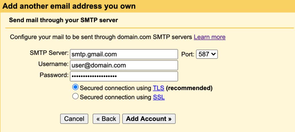 Gmail SMTP server settings
