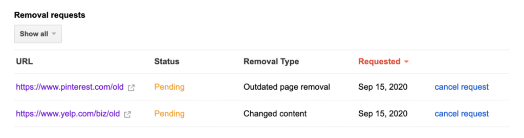 Google content removal requests