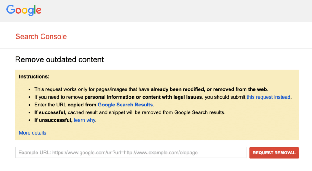 Google Search Console remove outdated content tool