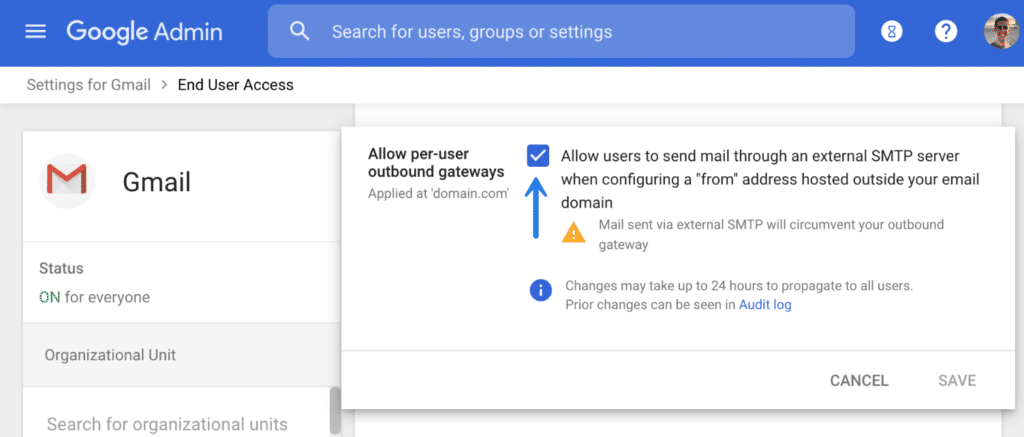 G Suite allow per-user outbound gateways