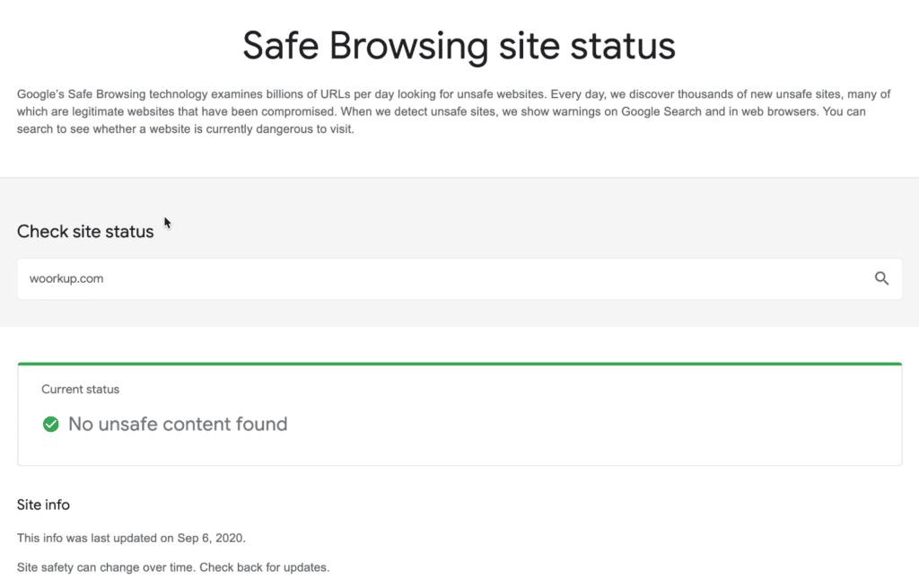 Google Safe Browsing site status tool