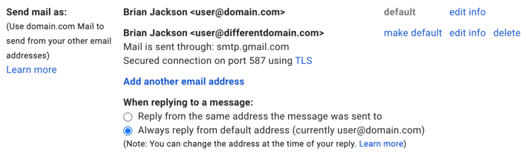 Gmail send mail as email addresses