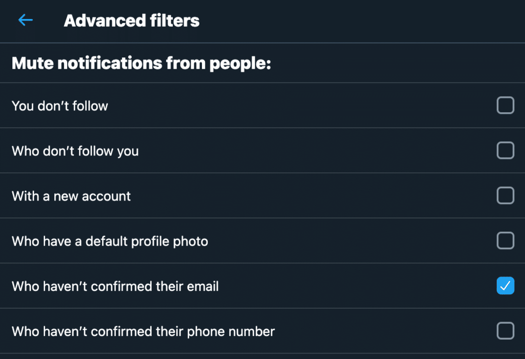 Twitter advanced filters for notifications