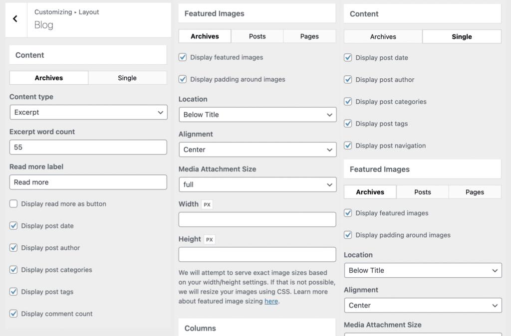 GeneratePress blog options