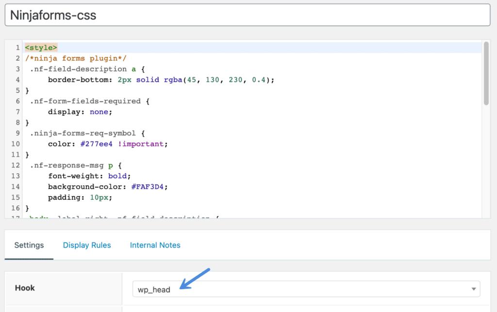 CSS styles in GeneratePress hook