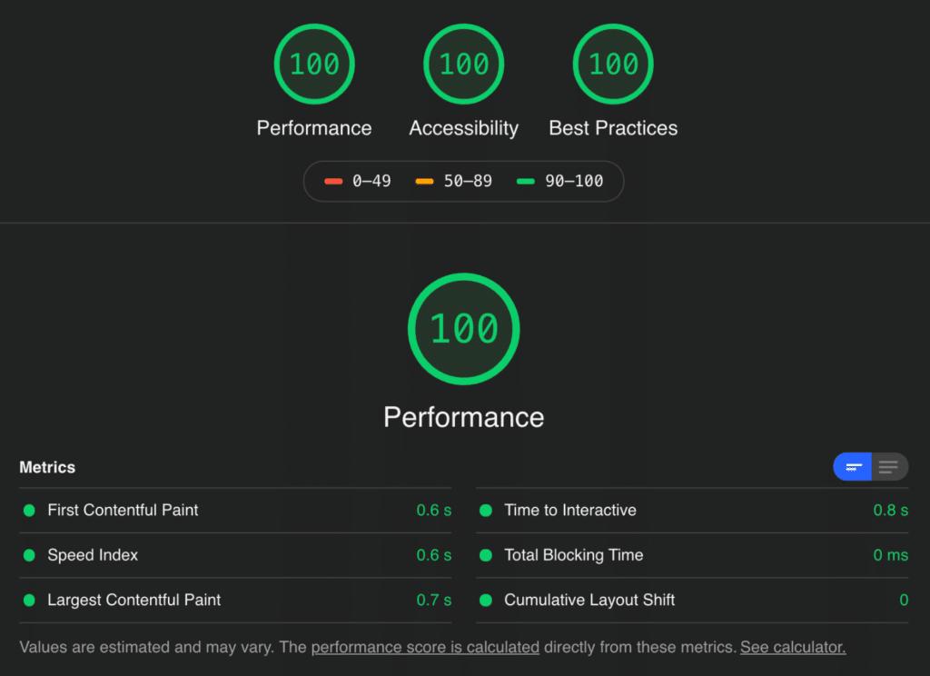 GeneratePress Lighthouse score (base install)