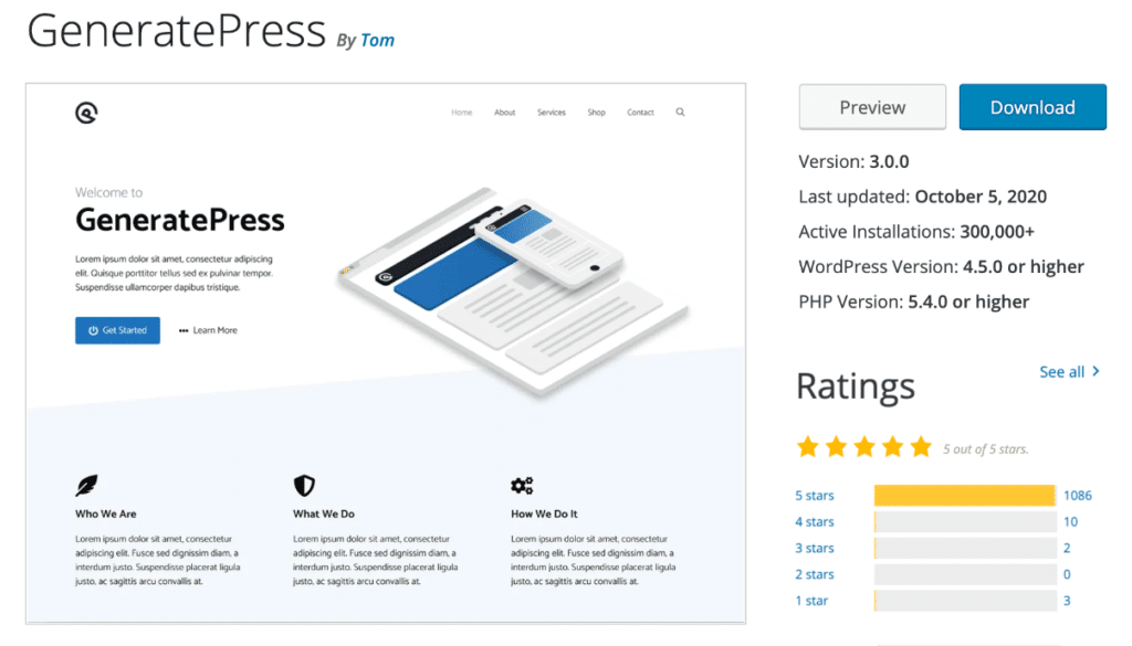 GeneratePress theme on WordPress repository